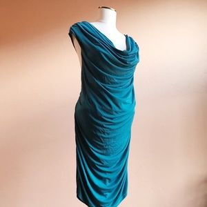 Torrid Teal BodyCon Ruched Cowl Neck Dress